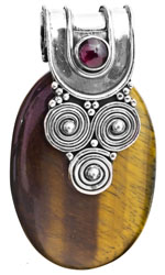 Tiger Eye Pendant with Garnet and Spiral