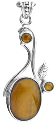 Triple Tiger Eye Pendant with Sterling Leaf