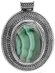 Malachite Large Pendant with Filigree
