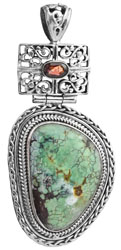 Spider's Web Turquoise Pendant with Garnet