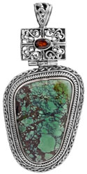 Turquoise Pendant with Faceted Garnet