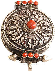 Vishva Vajra Gau Box Pendant with Coral