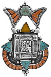 A Designer Pendant from Afghanistan with Turquoise, Coral and Amber