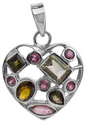 Tourmaline Heart-Shape Pendant (In Mixed Color)