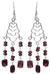 Faceted Garnet Shower Earrings