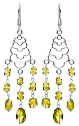 Faceted Peridot Chandelier Earrings