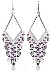 Faceted Amethyst Chandelier Earrings