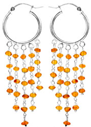 Faceted Carnelian Hoop Chandelier Earrings