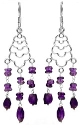 Faceted Amethyst Shower Earrings