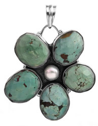Faceted Turquoise Flower with Pearl