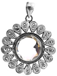 Faceted Crystal Filigree Pendant