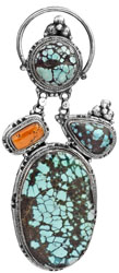 Spider's Web Turquoise Large Pendant with Coral