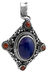 Lapis Lazuli with Coral Pendant