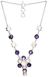 Faceted Rainbow Moonstone and Amethyst Necklace