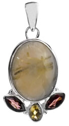 Rutilated Quartz Pendant with Faceted Garnet and Citrine