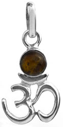 Sterling Om (AUM) Pendant with Gems