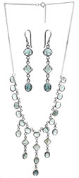 Green Onyx Necklace with Earrings Set