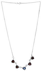 Faceted Heart-Shape Garnet Necklace with Color Crystal