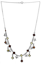 Faceted Garnet and Peridot Necklace