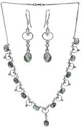 Green Fluorite Necklace with Earrings Set