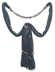 Scarf Necklace with Beaded Stones