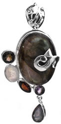 Four Gems Pendant (Labradorite, Smoky Quartz, Garnet and Amethyst)