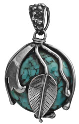 Spider's Web Turquoise Pendant and Sterling Leaves