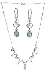 Green Fluorite Necklace with Earrings Set