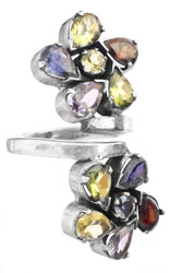 Faceted Gemstone Flower Ring (Amethyst, Garnet, Peridot, Iolite and Citrine)