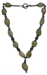 Dirty Blue Chalcedony Nugget Necklace