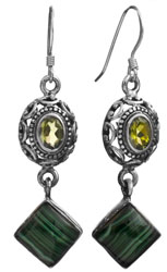 Malachite Earrings with Peridot