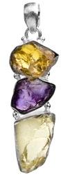 Triple Gemstone Rugged Pendant (Citrine, Amethyst and Lemon Topaz)
