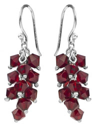 Faceted Garnet Bunch Earrings