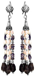 Faceted Iolite Shower Earrings with Pearl