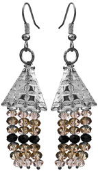 Faceted Triple Gemstone Shower Earrings (Crystal, Smoky Quartz and Black Spinel)