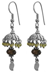 Peridot Umbrella Chandelier Earrings With Faceted Smoky Quartz
