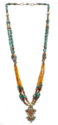 Gemstone Necklace (Turquoise, Coral and Carnelian)