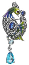Peacock Brooch Cum Pendant with Sapphire and BT