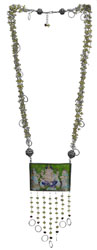 Faceted Peridot Bunch Necklace with Large Ganesha Pendant