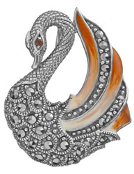 Sterling Swan Brooch Cum Pendant with Marcasite