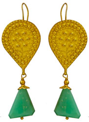 Faceted Chrysoprase Gold Plated Earrings