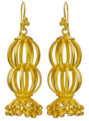Gold Plated Melon Earrings of Sterling Silver