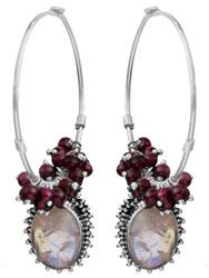 Garnet and Rainbow Moonstone Hoop Earrings