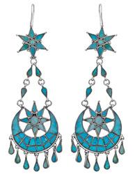 Sun and Moon Inlay Turquoise Earrings