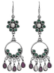 Triple Gemstone Hoop Chandeliers (Green Onyx, Pearl and Ruby)