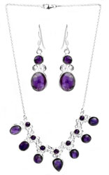 Gemstone Necklace with Earrings Set