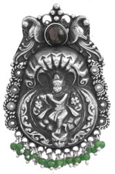 Kaliya Mardan Lila of Shri Krishna (Pendant) with Green Onyx (South Indian Temple Jewelry)