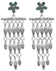 Faceted Green Onyx Chandelier Earrings