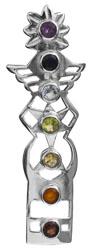 Faceted Gemstone Kundalini Chakras Pendant (Amethyst, Iolite, Peridot, Garnet, Citrine, BT and Carnelian)