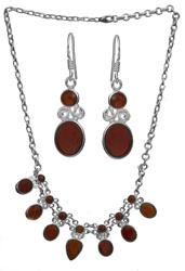 Carnelian Necklace with Earrings Set